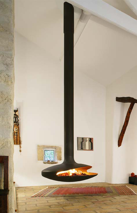 Tatiana ceiling mounted fireplace by Bordelet. Shaped like an Indian tipi