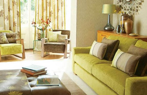 green color minded in home interior living room design and decoration