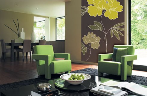 Modern Design Living Room on Contemporary Living Room Green Armchairs Black Carpet Accent Pictures