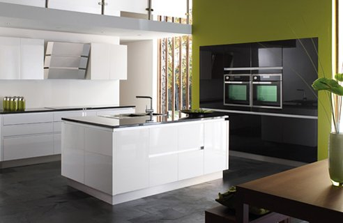 colour felisa black white Black Kitchen Design Ideas
