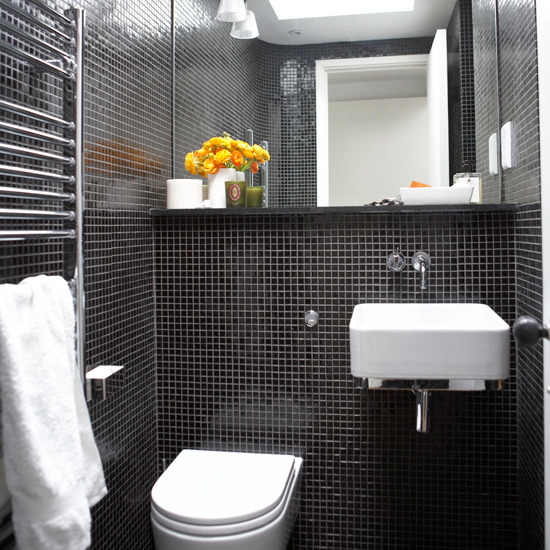 Black And Grey Tiled Bathroom