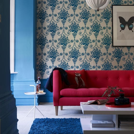 4 10 inspiring ideas colourful living rooms bold wallpaper 10 inspiring ideas: Colourful living rooms
