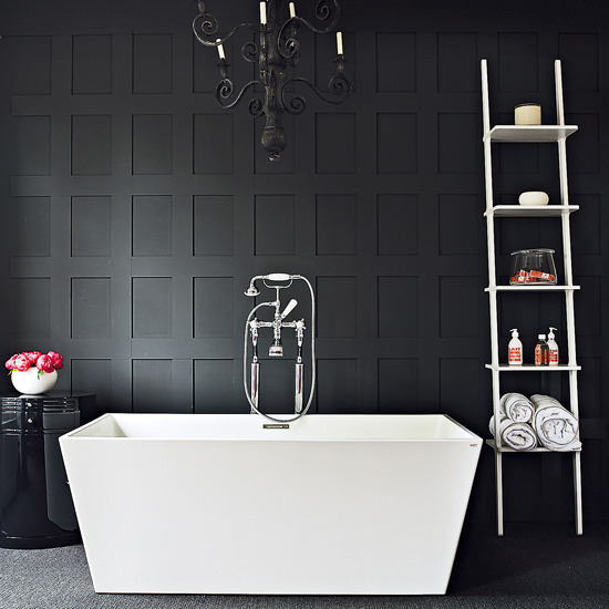 Grey bathroom on pinterest concrete bathroom grey for Monochrome bathroom designs