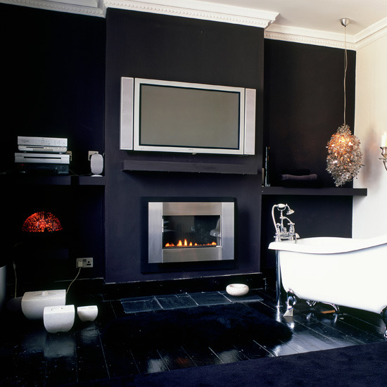9 10 ways to disguise your tv tv bathroom with fireplace 10 Ways to disguise your TV