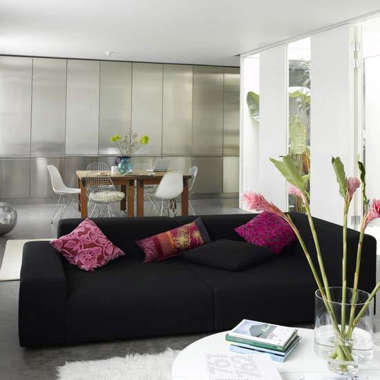 1 modern black living rooms black and pink living Modern black Living rooms