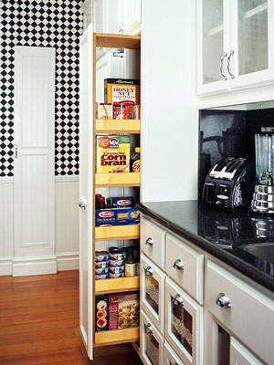 How to convert a closet into a pantry with pull out for Narrow pull out kitchen storage