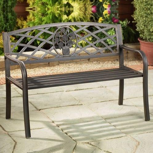 pics photos metal spiral garden bench