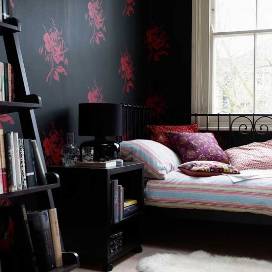 red and black wallpaper. modern bedroom lack wallpaper