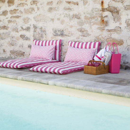 Pink stripes poolside