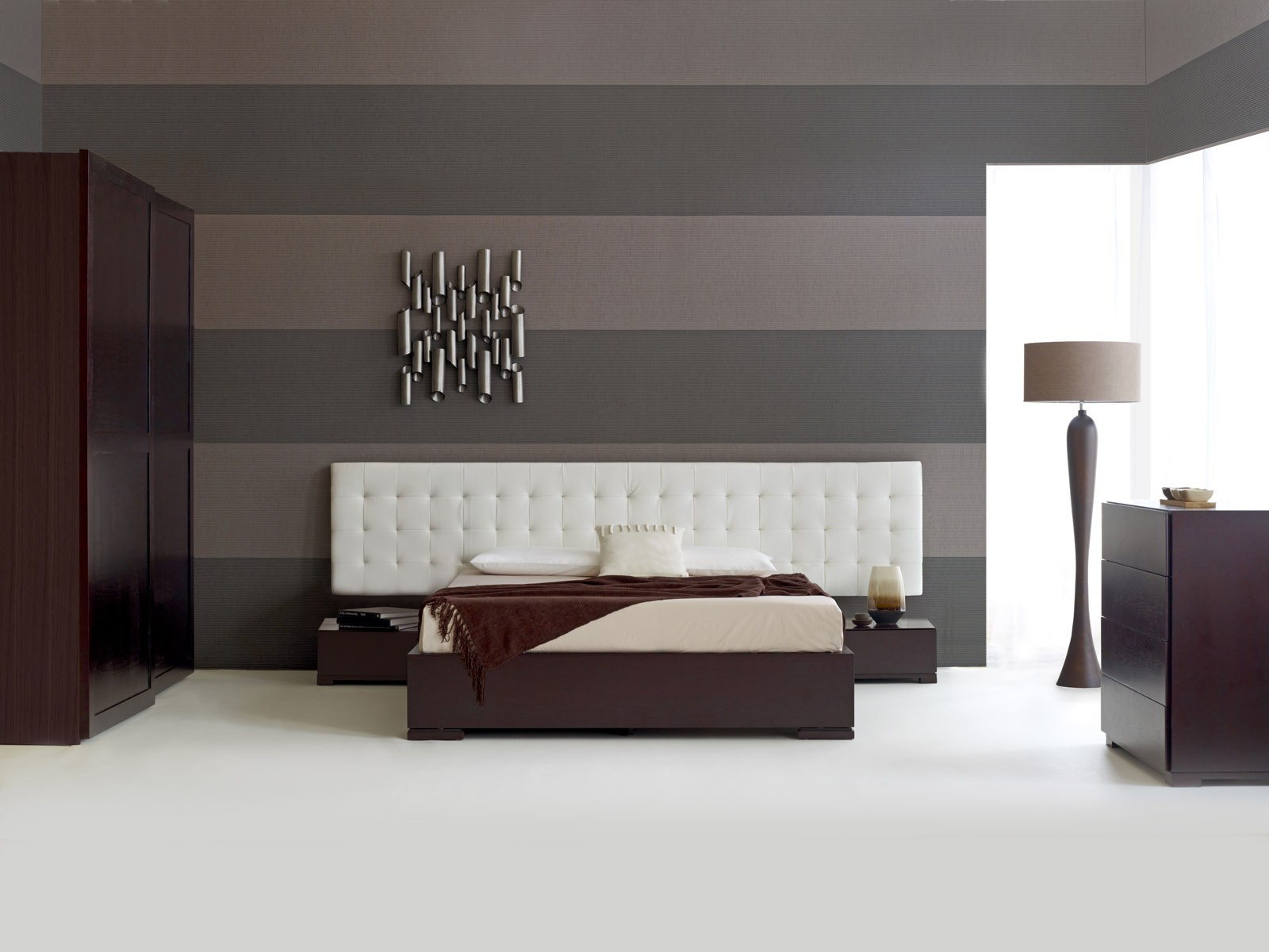 Baltazar walnut bed white headboard