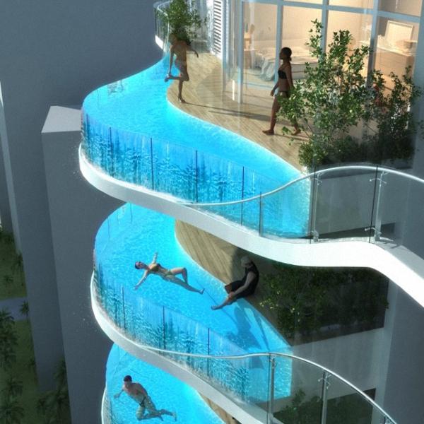 1 glass balcony pools at india Glass Balcony Pools at India