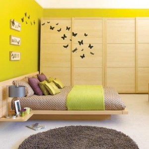 modern bedroom design by ikea with wallpaper