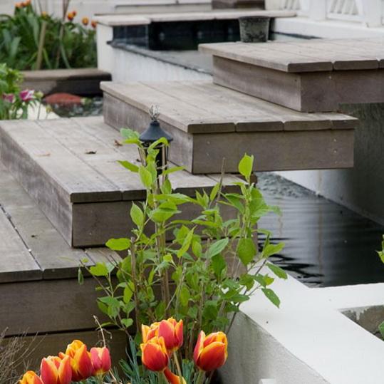 2 garden decking ideas Wooden steps Garden Decking Ideas