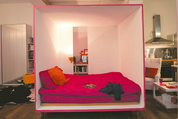 Studio Room Design Ideas use drapes to separate bed from rest of apartment. platform bed