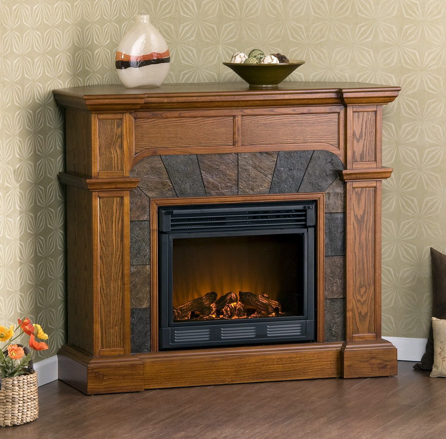 Stunning Stone Mantel Electric Fireplace 1458 x 1435 · 710 kB · jpeg