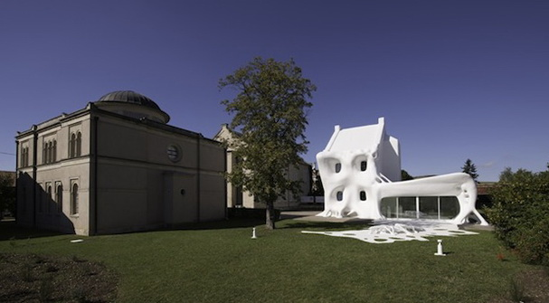 White Futuristic Facade Home in France