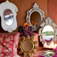 Vintage mirrors in interior