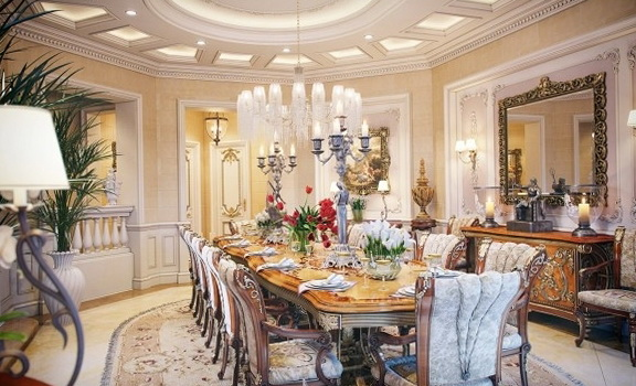 high ceiling formal living room ideas - The interior a luxury villa in Qatar