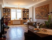 Family Apartment in Moderately Classic Style with Glass Used Instead of Kitchen Tiling, Marble Plint...