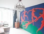 "Apartment with Old Soviet Layput and Spirit Featuring a Wall Copy of Matisse's ""la Danse"", a Lilac B..."