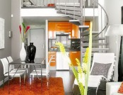 The successful combination of gray with yellow and orange color in the interior