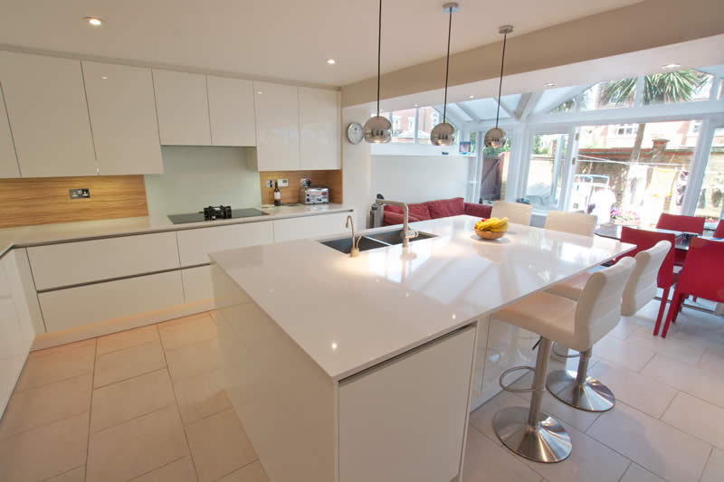 Kitchen island and breakfast bar white gloss acrylic