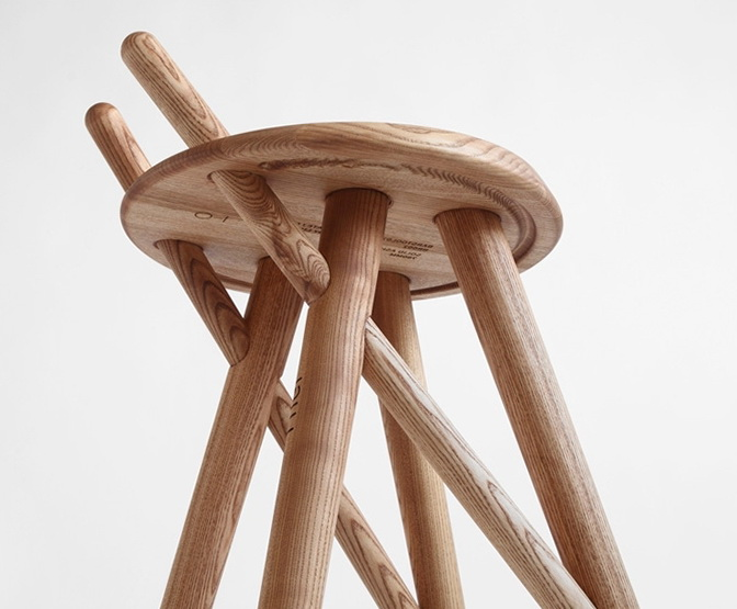 1-Beautiful natural wood stool