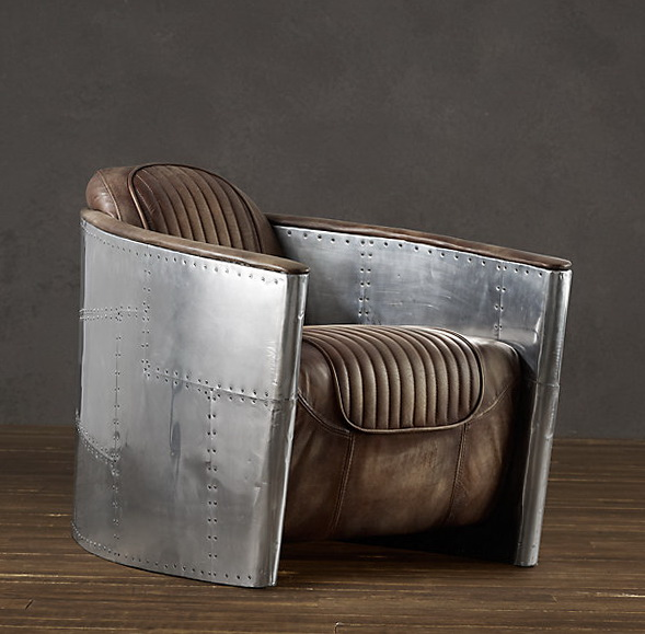 Aviator Swivel Chair With Leather Seat Home Interior