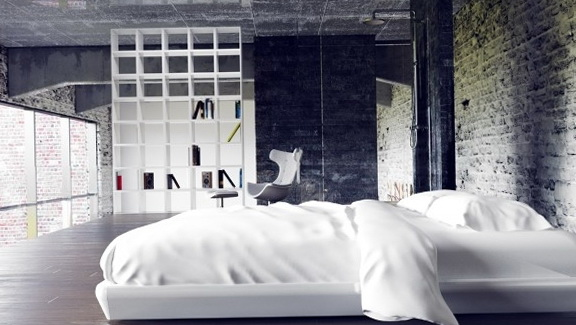 Bedroom In A Style With A Rough Textured Wall And Ceiling Of A Large Law  Offers A Beautiful View Of The City.