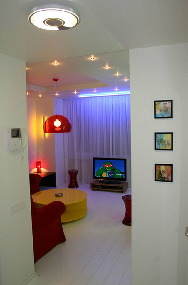 The design of a small apartment in the style of pop art ...