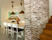 Brick wall interior design in the interior