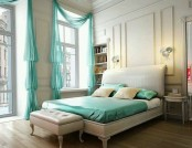 Turquoise color in the interior of a bedroom