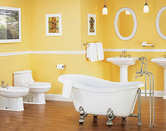 The bathroom in the French style – Yellow Bathroom Walls
