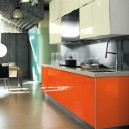 Acrylic Kitchen with orange and beige color