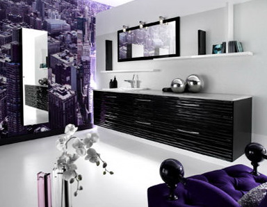 1-The bathrooms in the purple color