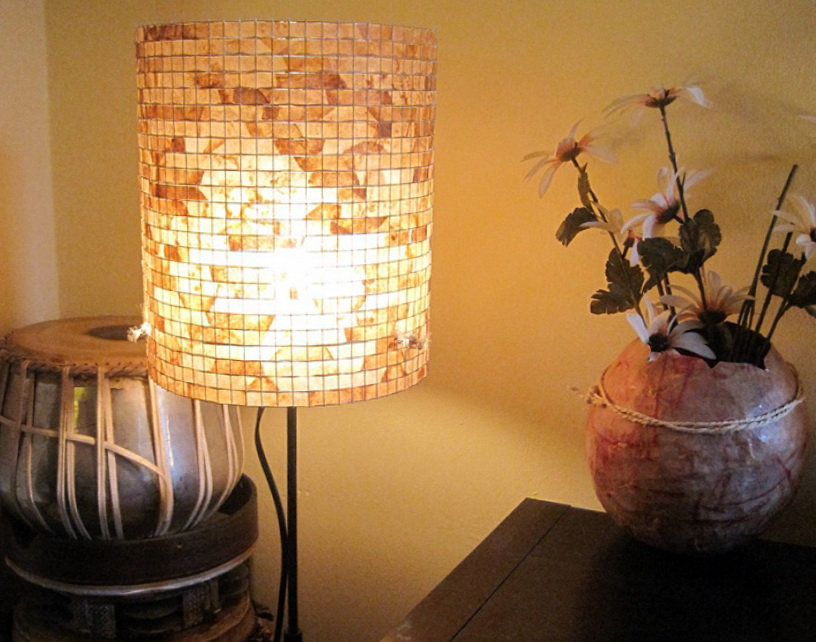 1 Beautiful Lamp Made  From Recycled Coffee