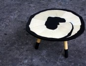 Table in the form of pencil shavings