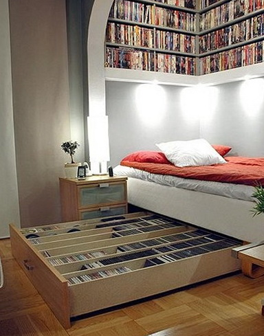 Shelves and tables for storing books and magazines home Under bed book storage