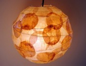 Beautiful lamp made ​​from recycled coffee filters