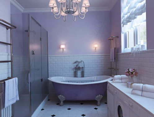 The Bathroom Can Be Elegant Legs If You Cannot Paint Walls In Purple Color Use Lighting With Violet Hues Which Would Break Magic Room
