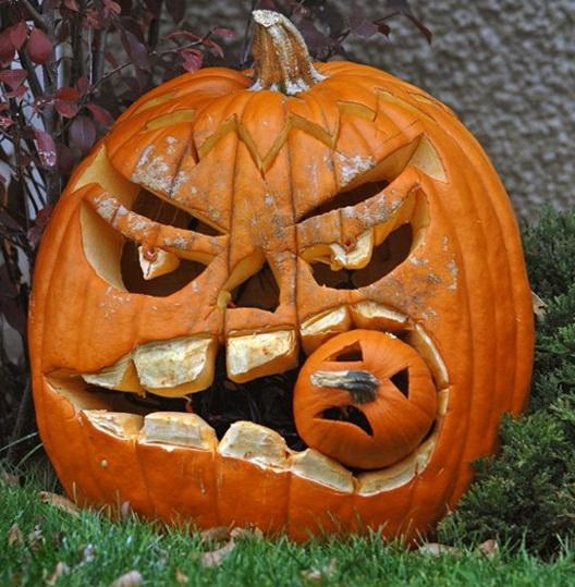 A Cheerful Carving A Pumpkin On Halloween Home Interior