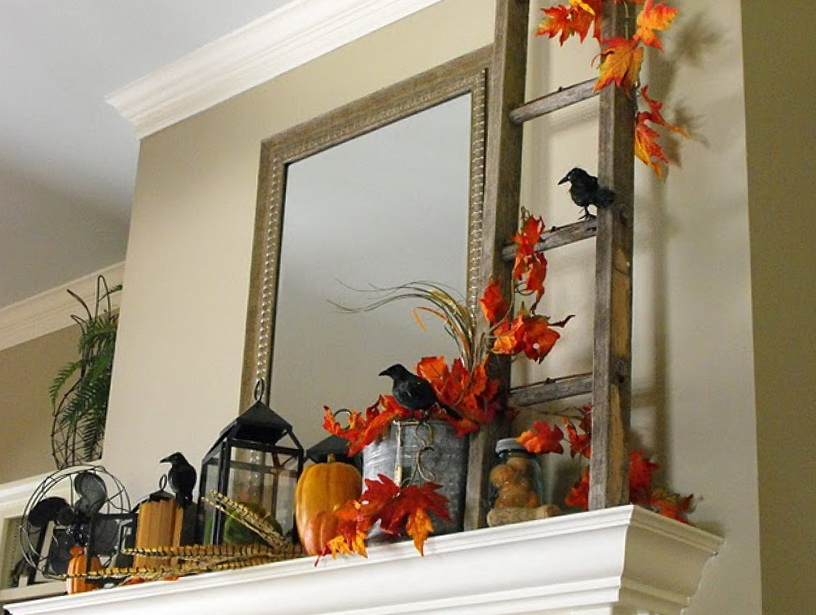 7-crows in the fireplace