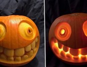 A cheerful carving a pumpkin on Halloween