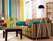 The apartment interior with stripes