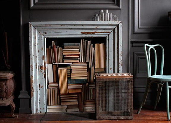 5-fireplace for books
