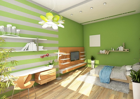 Teen's Room With Colored Wall