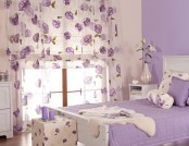 Cream and lilac color in the bedroom