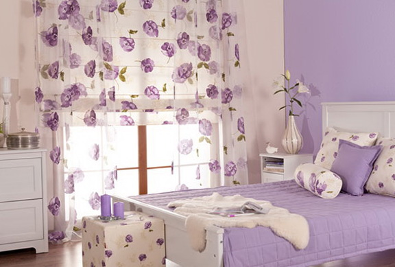 Cream and lilac color in the bedroom home interior for Bedroom ideas lilac