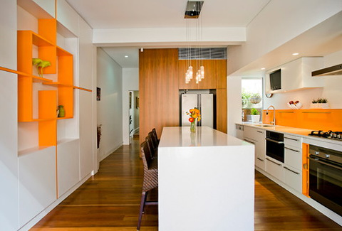 Orange kitchen in the interior Home Interior Design