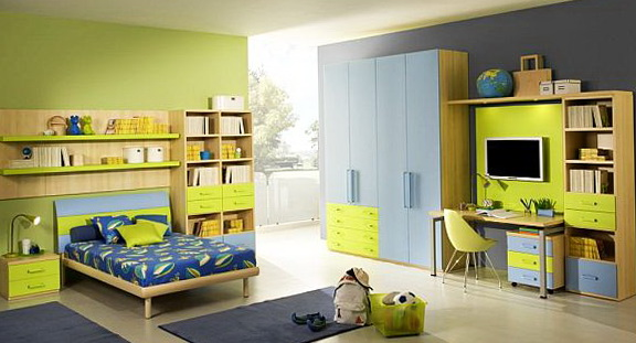 Bright Room Light Green And Interesting Color Blends Perfectly With The  Blue Room Is Well Suited For A Student Will Soon Develop Its Intuition.